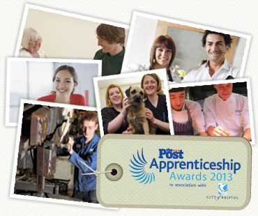 Photos of apprentices and a logo of the Bristol Apprenticeship Awards in association with City of Bristol College