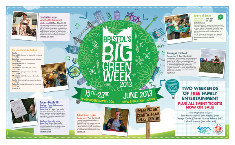 Double page spread ad for 'Bristol's Big Green Week'