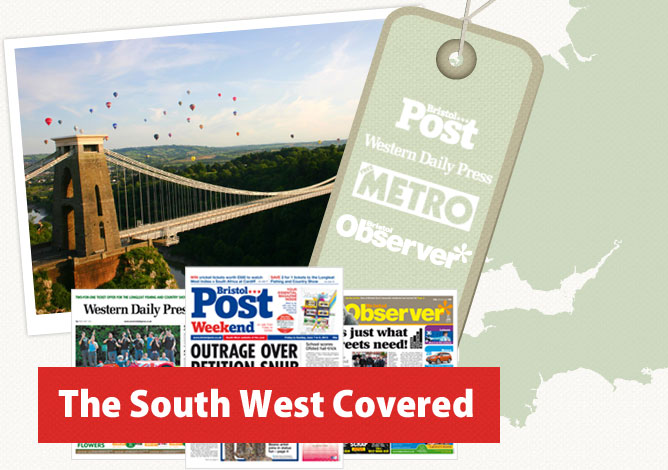 A photo of the Clifton Suspension Bridge over a map of the South West with The Bristol Post, The Western Daily Press, The Observer and The Metro