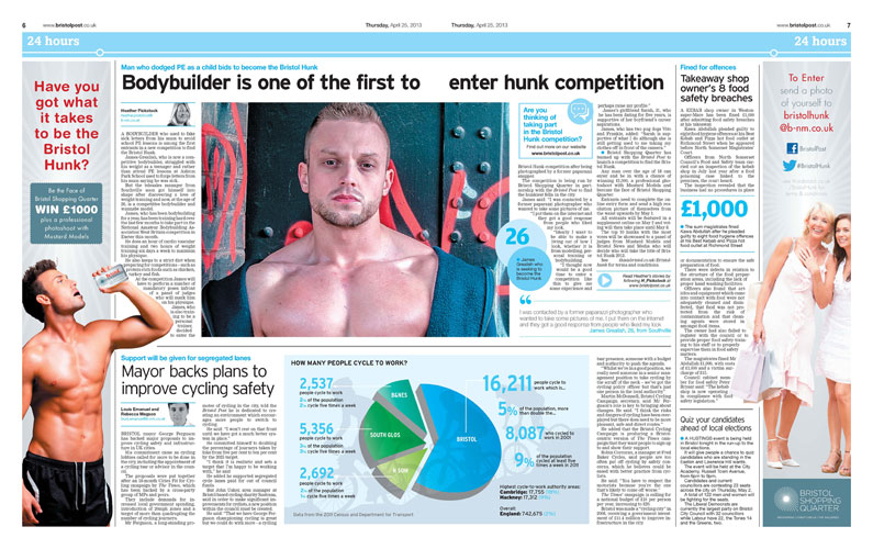 'Bookend' style ad in the Bristol Post for the Bristol Hunk competition