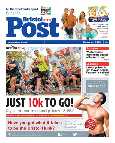 Front page ad on the Bristol Post for the Bristol Hunk competition